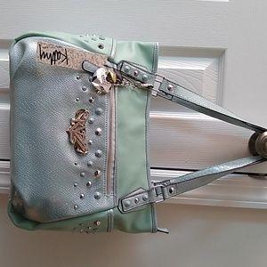 Kathy Van Zeeland Mint Snakeprint Shimmer Bag